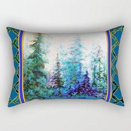 WESTERN  BLUE FOREST WATER COLOR TEAL PATTERN ART Rectangular Pillow