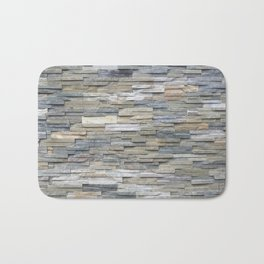 Gray Slate Stone Brick Texture Faux Wall Bath Mat
