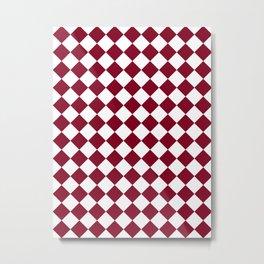 Diamonds - White and Burgundy Red Metal Print