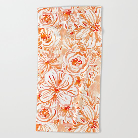 BIG SUNSHINE Orange Watercolor Floral Beach Towel