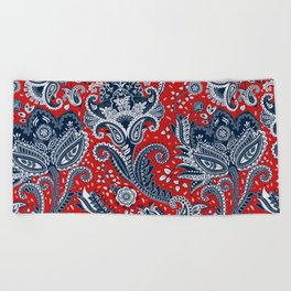 Red White & Blue Floral Paisley Beach Towel