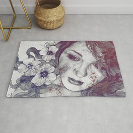 Cleopatra's Sling: Red & Blue   flower tattoo lady portrait drawing Rug