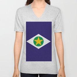 flag of mato grosso Unisex V-Neck