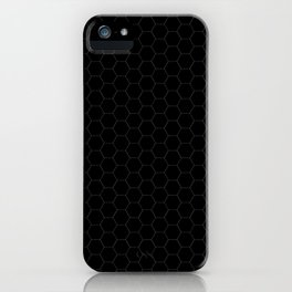 Black Hexagons - simple lines iPhone Case