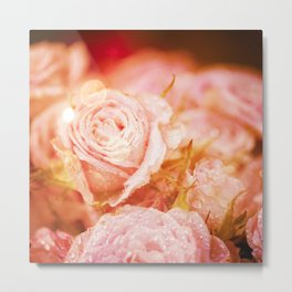 Roses with waterdroplets and bokeh Metal Print