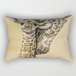 baby giraffe and mom Rectangular Pillow