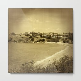 Bay and beach side suburb in sepia Metal Print