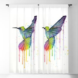 Hummingbird Rainbow Watercolor Blackout Curtain
