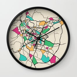 Colorful City Maps: Amman,Jordan Wall Clock