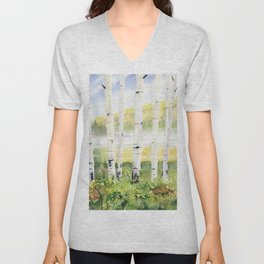 Behind The Birch Trees Unisex V-Neck