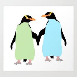 Gay Pride Penguins Holding Hands Art Print
