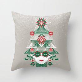 Christmas woman tree Throw Pillow