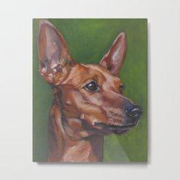Miniature Pinscher dog art portrait from an original painting by L.A.Shepard Metal Print