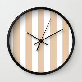 Manila pink - solid color - white vertical lines pattern Wall Clock