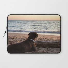 Chocolate lab observing the sunset at the beach Laptop Sleeve