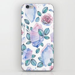 Watercolor crystal and rose leaves iPhone Skin