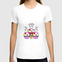 polkadot T-shirts featuring Cute Monster With Pink And Purple Polkadot Cupcakes by Mydeas