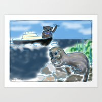 otters Art Prints featuring Otters Love by Gaby Kasan