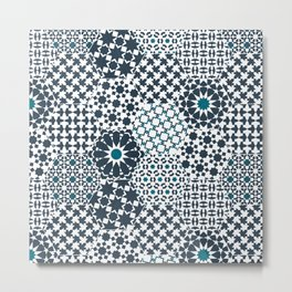 Spanish Tiles of the Alhambra - Gray & dark Aquamarine Metal Print