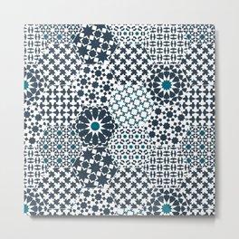 Spanish Tiles of the Alhambra - Gray & dark Aquamarine Metal Print