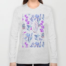 Modern purple blue watercolor hand painted orquid butterfly Long Sleeve T-shirt