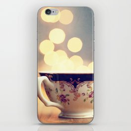 Blue and Gold Steaming Cup iPhone Skin