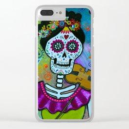 Mexican Artist Violin Player Dia de los Muertos Clear iPhone Case