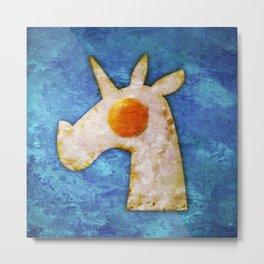 Unicorn Fried Egg Metal Print