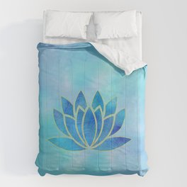 Blue Watercolor Lotus Flower Art Comforters