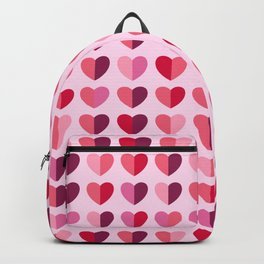 Retro pink Valentine's Day half-hearts Backpack