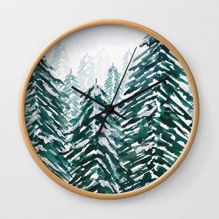 snowy pine forest in green Wall Clock