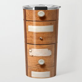 Backgrounds and textures: very old wooden cabinet with drawers Travel Mug