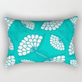 African Floral Motif on Turquoise Rectangular Pillow