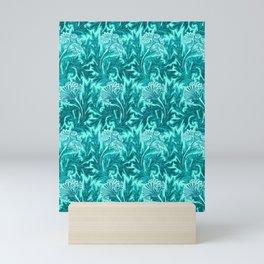 Jacobean Flower Damask, Turquoise Teal and Aqua Mini Art Print