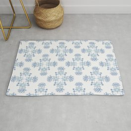 Delft blue romantic floral watercolor pattern in classic blue Rug