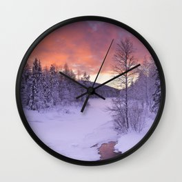 III - Sunrise over a river in winter near Levi, Finnish Lapland Wall Clock