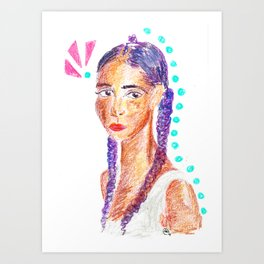 Portrait of a Gal in Crayon with Purple Braids Art Print
