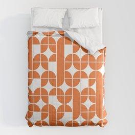 Mid Century Modern Geometric Pattern Orange Comforters