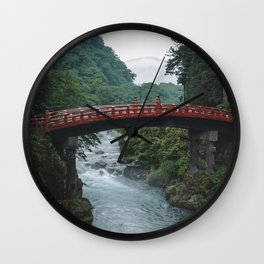 Red Mountain View Bridge. Nikko, Japan. Travel print - Photography wall art. Art print. Wall Clock