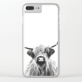 Black and White Highland Cow Portrait Clear iPhone Case