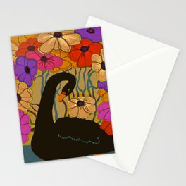 Swan Swimming Through Flowers Stationery Cards