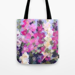 Pink Hollyhocks in My Garden Tote Bag