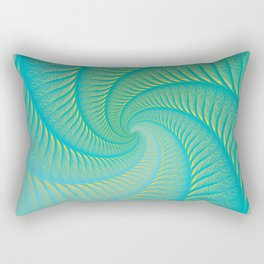 The Eye of the Tropical Storm | Turquoise Twist Geometric Spiral Artwork Rectangular Pillow