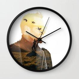 Landscape Man (Double Exposure) Wall Clock