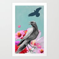 Raven with Pink Flowers Art Print