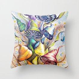 Wizard Mushrooms Throw Pillow