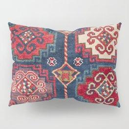 Royal Blue Red Kazak 19th Century Authentic Colorful El Paso Vibes Vintage Patterns Pillow Sham