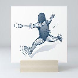 Fencer. Print for t-shirt. Vector engraving illustration. Mini Art Print