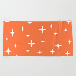 Mid Century Modern Star Pattern 443 Orange Beach Towel