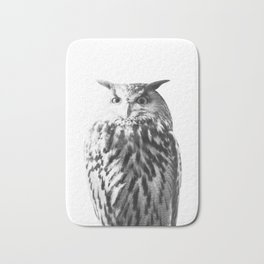 Owl on White #1 #animal #decor #art #society6 Bath Mat